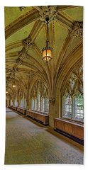 Beach Towel featuring the photograph Yale University Cloister Hallway II  by Susan Candelario