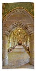 Beach Towel featuring the photograph Yale University Cloister Hallway by Susan Candelario