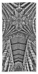 Beach Towel featuring the photograph Yale University Sterling Library Bw by Susan Candelario