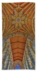 Beach Towel featuring the photograph Yale University Sterling Library by Susan Candelario