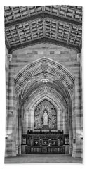 Beach Towel featuring the photograph Yale University Sterling Memorial Library Bw  by Susan Candelario