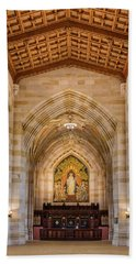 Beach Towel featuring the photograph Yale University Sterling Memorial Library by Susan Candelario