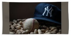 Beach Towel featuring the photograph Yankee Cap Baseball And Peanuts by Terry DeLuco
