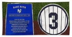 Yankee Legends Number 3 Beach Towel by David Lee Thompson