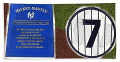 Yankee Legends Number 7 Beach Towel by David Lee Thompson
