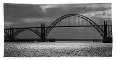 Yaquina Bay Bridge Black And White Beach Towel by James Eddy