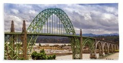 Beach Towel featuring the photograph Yaquina Bay Bridge by James Eddy