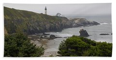 Yaquina Head Lighthouse View Beach Towel by Mick Anderson