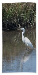 Yawkey Wildlife Refuge - Great White Egret II Beach Towel by Suzanne Gaff