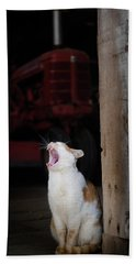 Yawning Barn Cat And Tractor Beach Towel