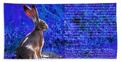 Year Of The Rabbit 2011 . Blue Beach Towel