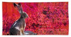 Year Of The Rabbit 2011 . Red Beach Towel