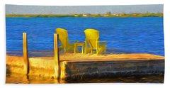 Yellow Adirondack Chairs On Dock In Florida Keys Beach Sheet