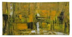 Yellow And Black Abstract Beach Towel