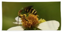 Yellow And Black Bee On Flower. Beach Sheet