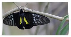 Yellow And Black Butterfly Beach Towel