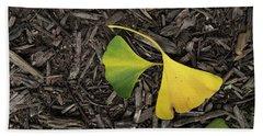 Yellow And Green Gingko Beach Towel