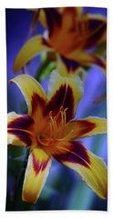 Yellow And Orange And Garnet Daylilies 1270 H_2 Beach Sheet