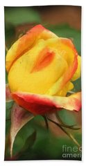 Yellow And Orange Rosebud Beach Towel