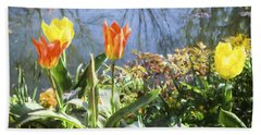 Yellow And Orange Tulips In Giverny  Beach Towel