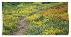 Yellow And Orange Wildflowers Along Trail Near Diamond Lake Beach Towel