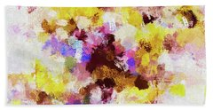 Yellow And Pink Abstract Painting Beach Sheet by Ayse Deniz