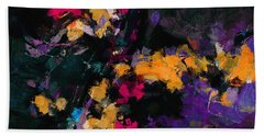 Beach Towel featuring the painting Yellow And Purple Abstract / Modern Painting by Ayse Deniz