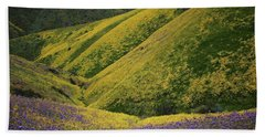 Yellow And Purple Wildlflowers Adourn The Temblor Range At Carrizo Plain National Monument Beach Towel