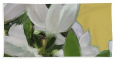 Yellow And White Flower Art 1  Beach Towel