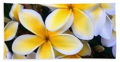Yellow And White Plumeria Beach Sheet