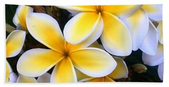 Yellow And White Plumeria Beach Towel