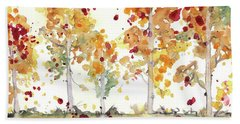 Beach Towel featuring the painting Yellow Aspens by Dawn Derman
