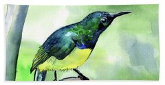 Beach Towel featuring the painting Yellow Bellied Sunbird by Dora Hathazi Mendes