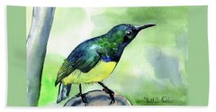 Beach Sheet featuring the painting Yellow Bellied Sunbird by Dora Hathazi Mendes