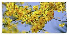 Yellow Blossoms Beach Towel by Gandz Photography
