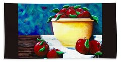 Beach Sheet featuring the painting Yellow Bowl Of Apples by Jennifer Lake