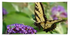 Yellow Butterfly On Purple Beach Towel
