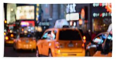 Yellow Cabs At Time Square In New York Beach Towel