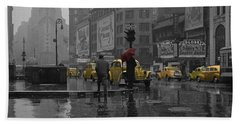 Time Square Photographs Beach Towels