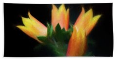 Yellow Cactus Flowers Beach Towel by Darleen Stry
