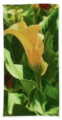 Yellow Calla Lilly Beach Towel by Luther Fine Art