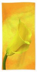Yellow Calla Lily Beach Towel by Cyndy Doty