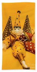 Yellow Carnival Clown Doll Beach Towel