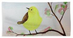 Yellow Chickadee On A Branch Beach Sheet