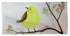 Yellow Chickadee On A Branch Beach Sheet