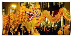 Yellow Chinese Dragon Beach Towel