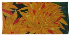 Beach Towel featuring the painting Yellow Chrysanthemums by Hilda and Jose Garrancho