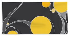 Yellow Circles Abstract Design Beach Towel