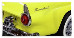 Yellow Classic Thunderbird Car Beach Towel