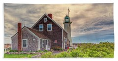 Yellow Clouds Over Scituate Lighthouse Beach Towel